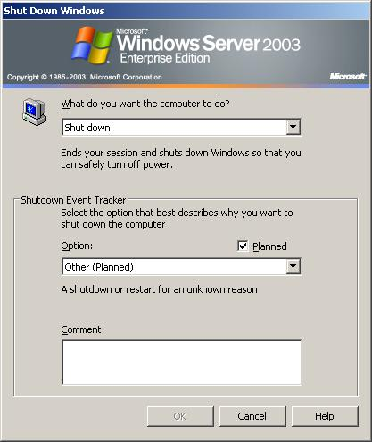 The Windows Server 2003 Shutdown Event Tracker